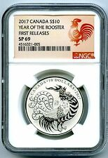 2017 $10 CANADA 1/2 OZ SILVER NGC SP69 ROOSTER SPECIMEN PROOF FIRST RELEASES