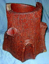 Antique Handmade Sewer Tile Folk Art  Tree Trunk Planter Decoration