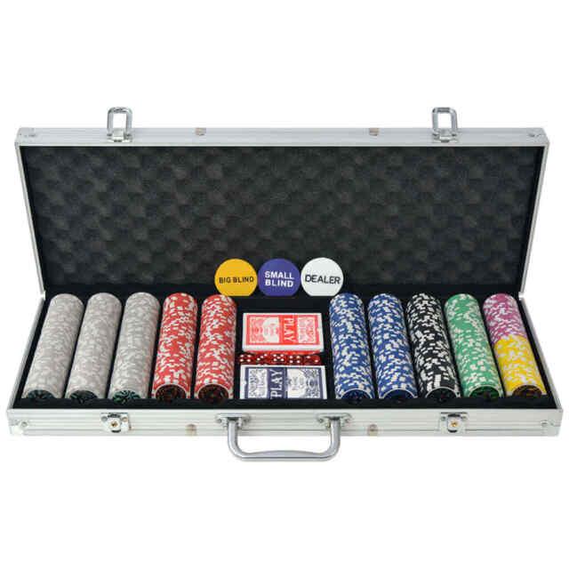 Poker Set with 500 Laser Chips Aluminium vidaXL