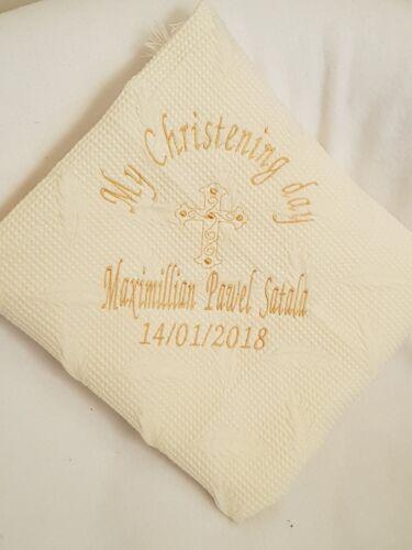 Personalised Embroidered Christening Baptism Naming Shawl /& Bib Cream Ivory