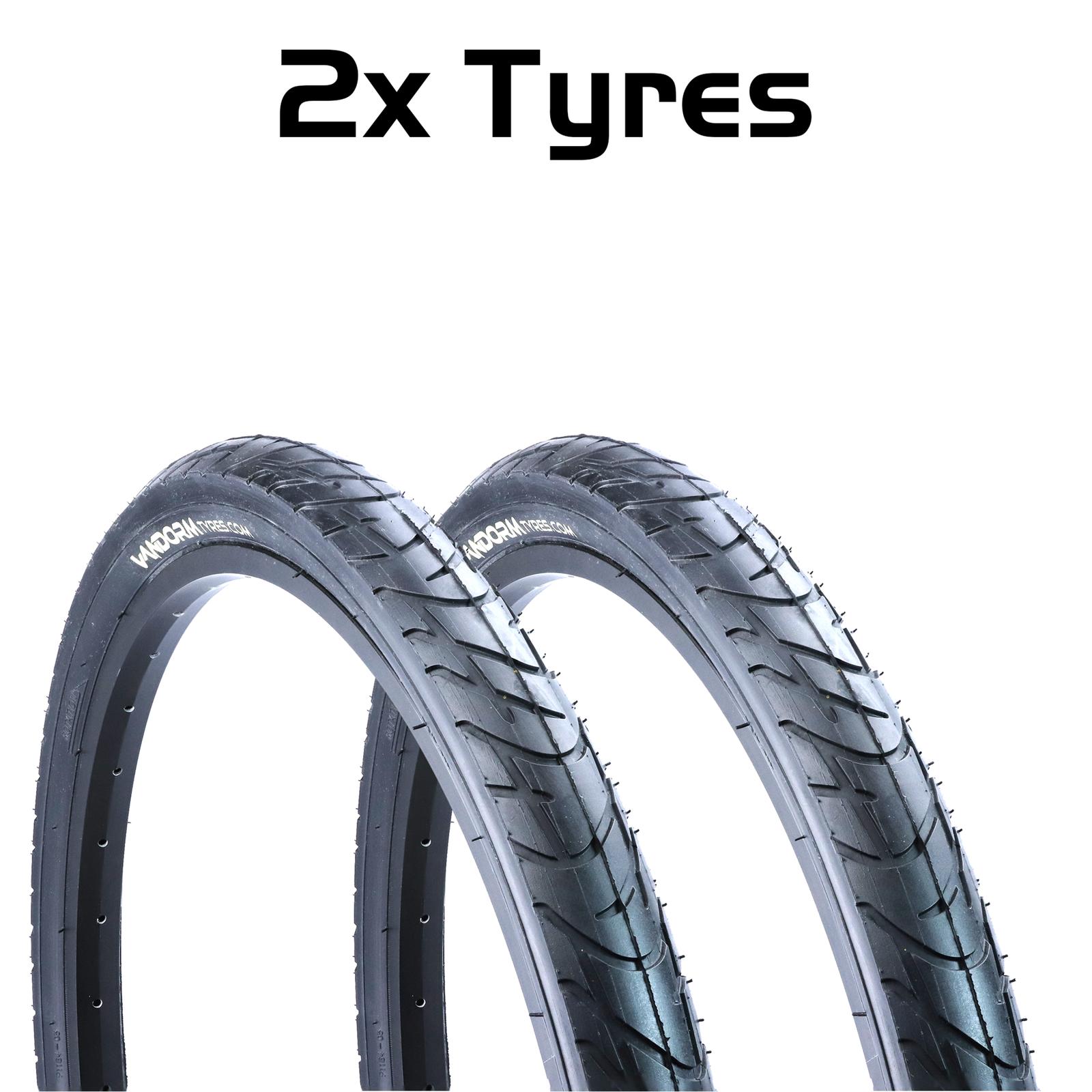 Pair of Fincci Slick Road Mountain Hybrid Bike Bicycle Tyres 26 x 1.95 54-559