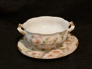 ANTIQUE-H-amp-C-HAVILAND-LIMOGES-PORCELAIN-floral-large-bouillon-cup-saucer-soup