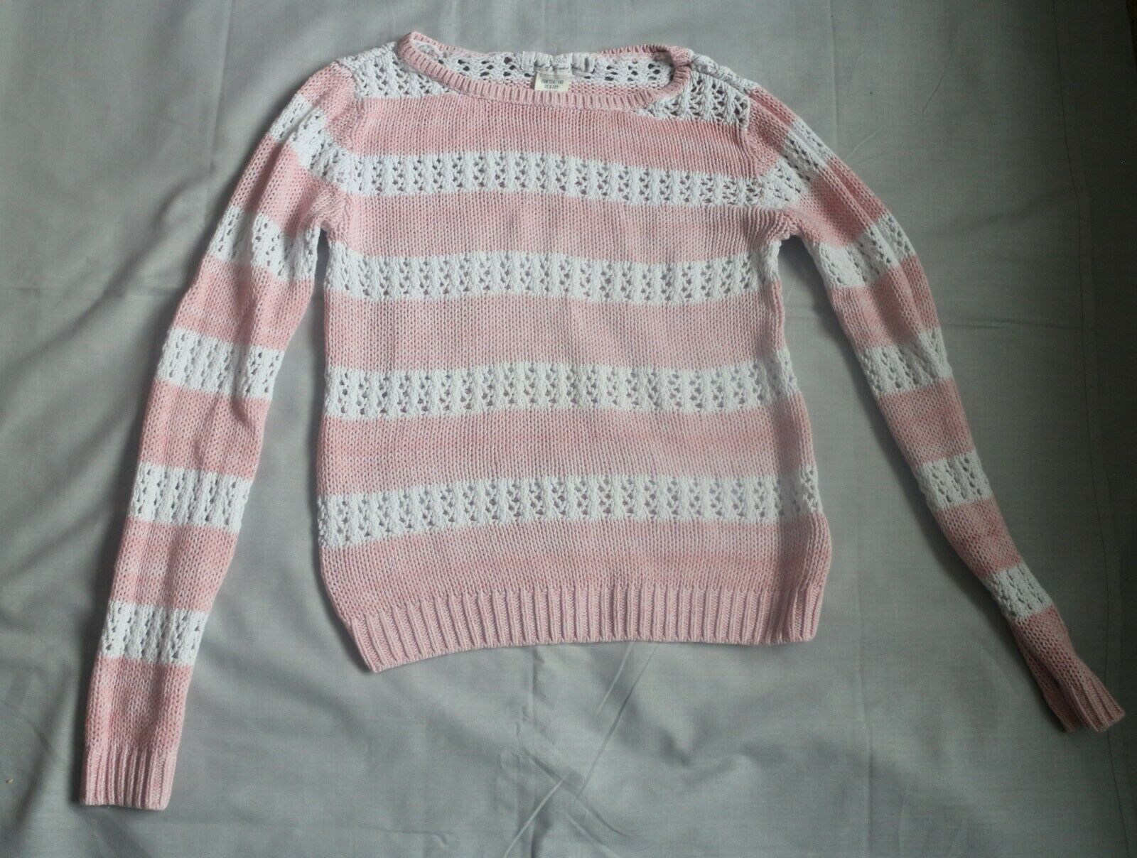*H&M* Pink and White Crochet Jumper (Age 8 - 10 Years)