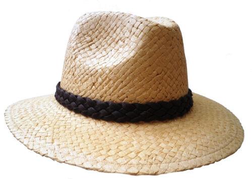 Uomo Cappello Cappello di paglia papierstroh elegante straßenhut vanillefarbig