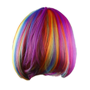 Woman-039-s-wig-rainbow-short-striaght-BOBO-haircut-cosplay-halloween-patry-synth-DA