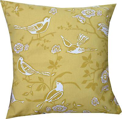 "Designer Yellow mustard bird white summer vintage chic floral cushion cover 16"""