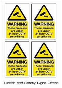 CCTV SIGN - 24HR SURVEILLANCE *PACK OF 4* *STICKER* 100x150mm - A6