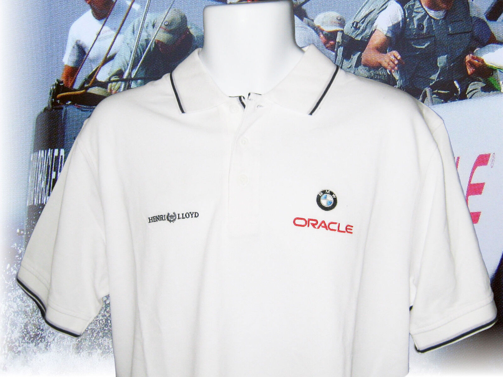 NEW VINTAGE Henri LLOYD POLO SHIRT BMW ORACLE Americas Cup Polo in Bianco S