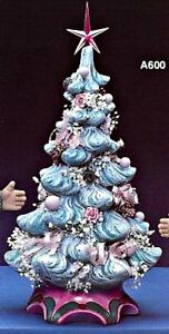 CERAMIC BISQUE CHRISTMAS TREE WITH ATTACHED BASE~LIGHT KIT INCL. READY TO PAINT