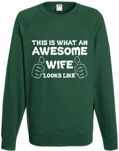 Awesome Wife Sweatshirt Jumper Valentine Gift Present Birthday Funny Anniversary