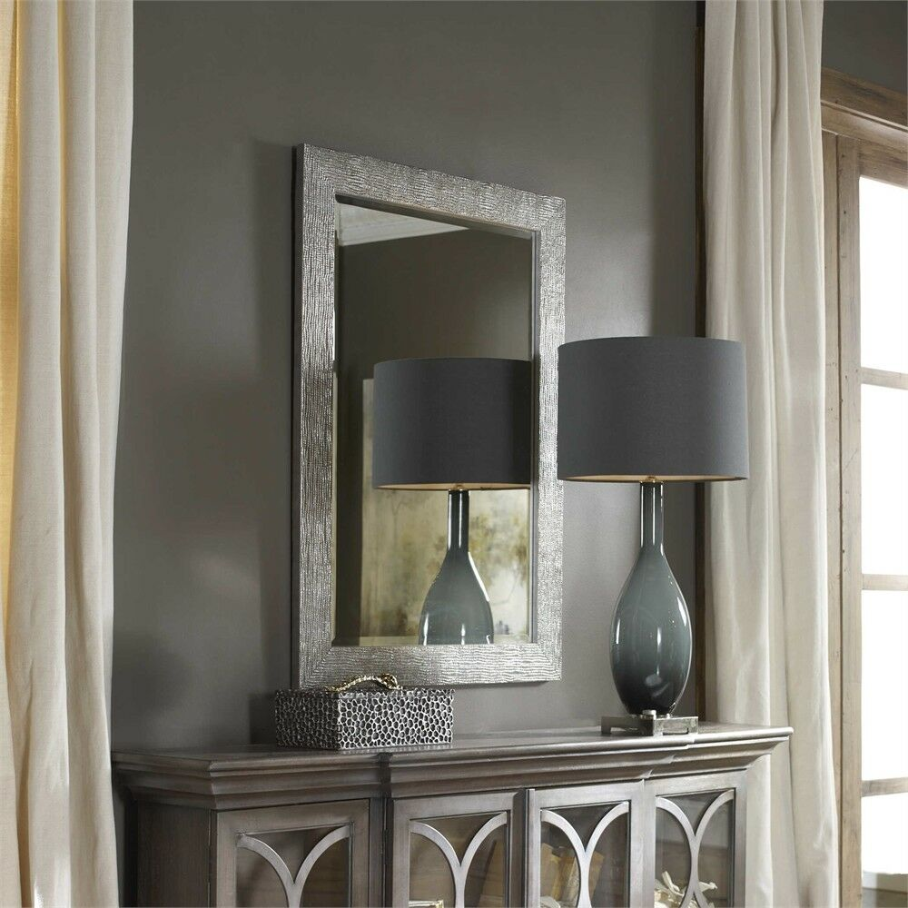 Vanity Silver Gray Rectangular Beveled Wall Mirror Large 42 Modern Horchow For Sale Online