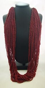 Vintage-Multiple-Strand-Glass-Bead-Necklace-In-Burgandy-With-Silver-Plate-Chain