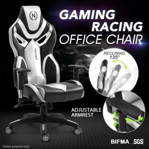 Ergonomic High Back Computer Office Chair PU Leather Gaming Racing Recliner Seat