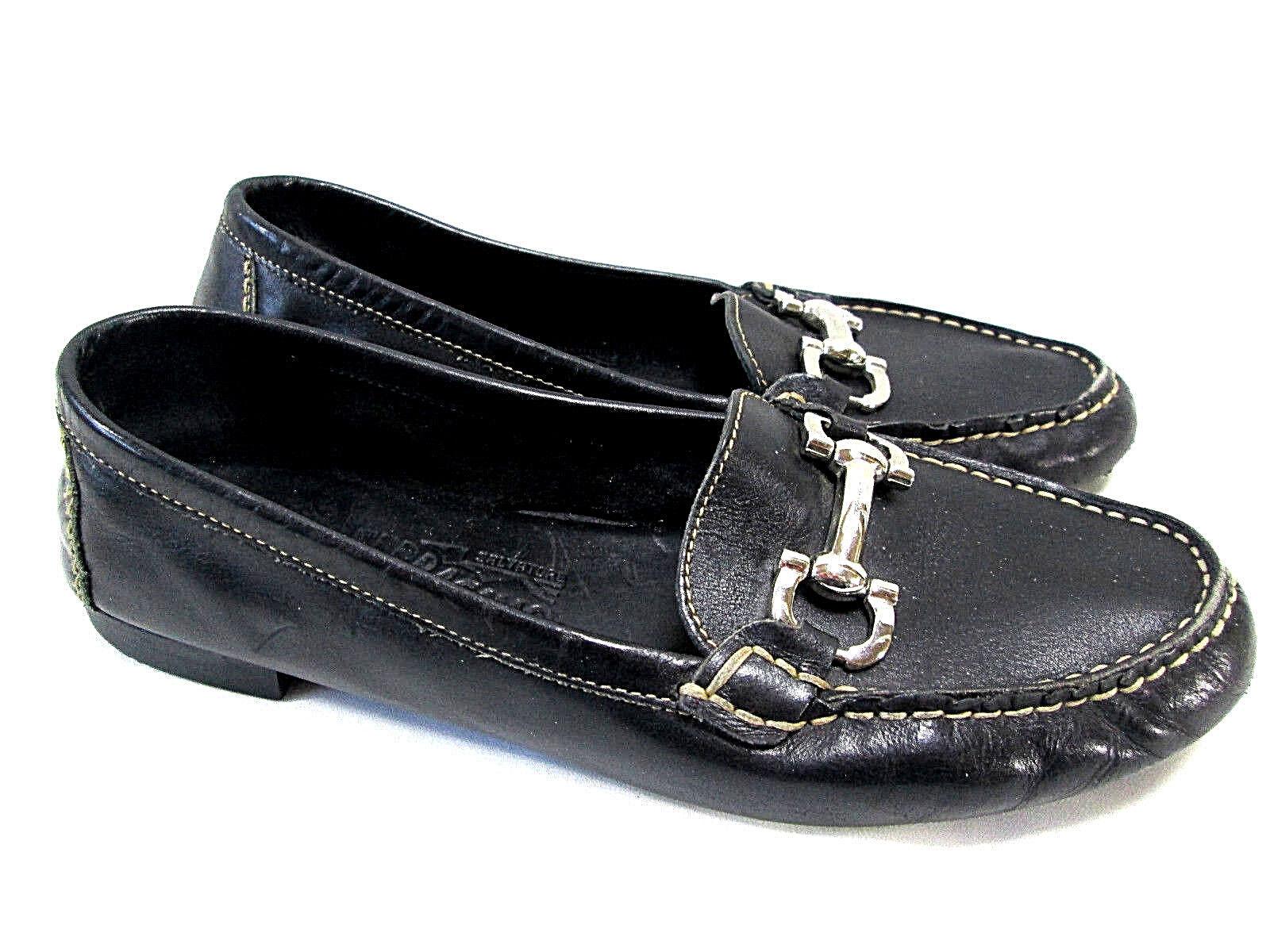 SALVATORE FERRAGAMO Parigi Gancini Bit Driver Moccasin Women 7 Soft Black Loafer