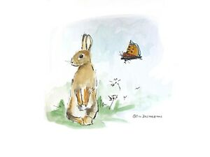 Print-of-original-ink-watercolour-Rabbit-amp-butterfly-collectible-wall-art-decor