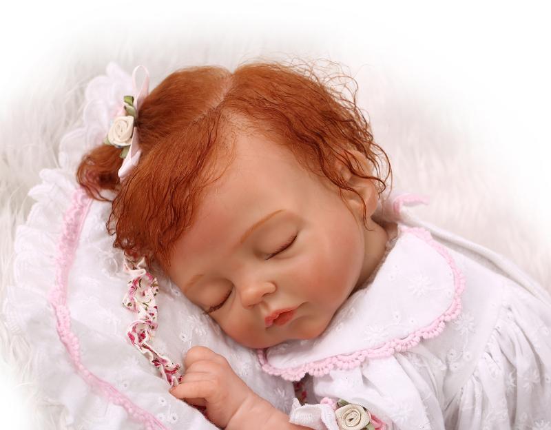 17  realista Reborn Bebé Niñas Muñeca de pelo rizado Vinilo Suave Silicona Niños Regalos