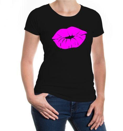 Damen Kurzarm Girlie Shirt Kissing Lips Junggesellenabschied JGA Kussmund Liebe