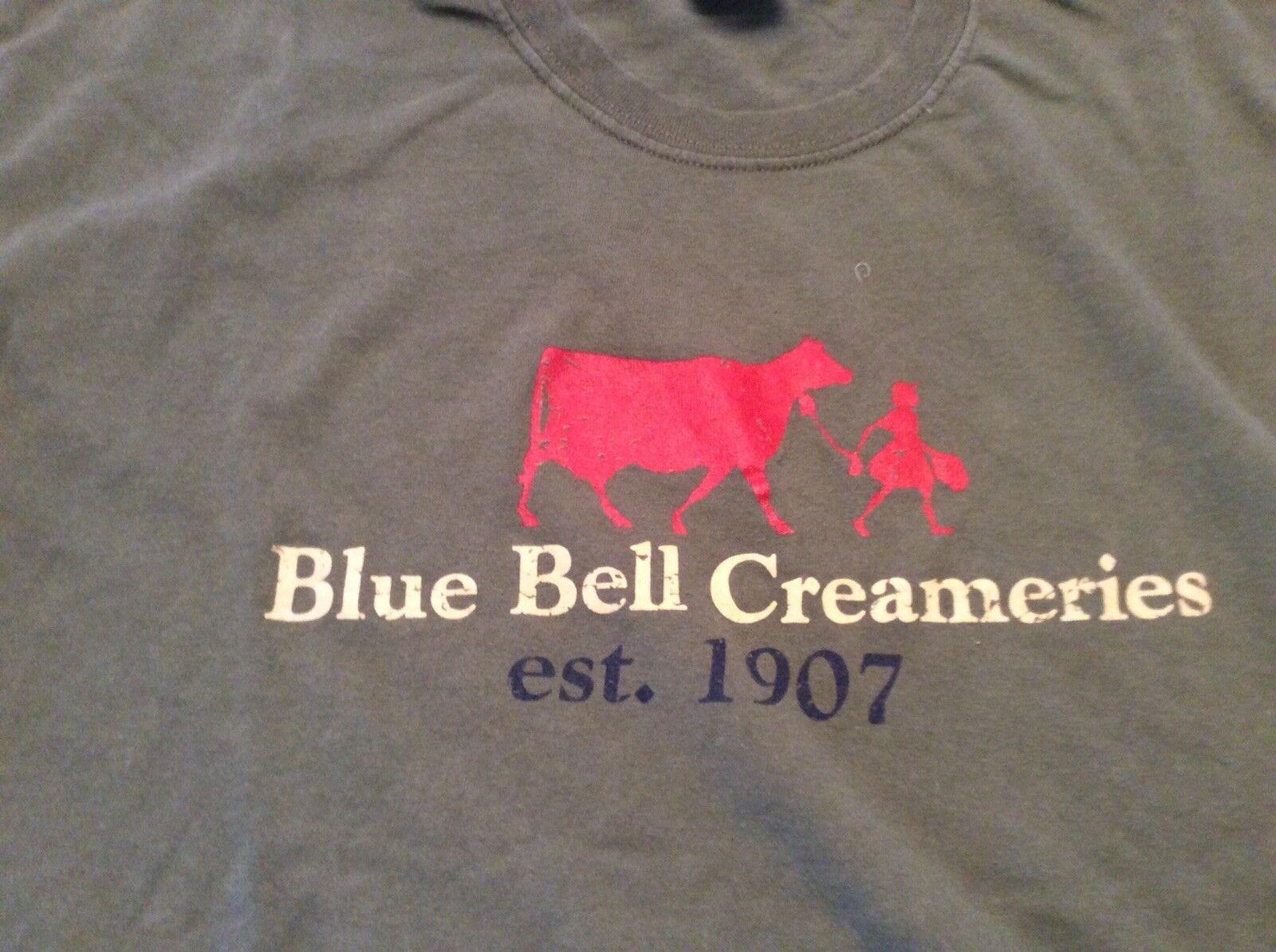 Vintage 90s bluee Bell Creameries Ice Cream Tshirt Size L Green Mens Unisex