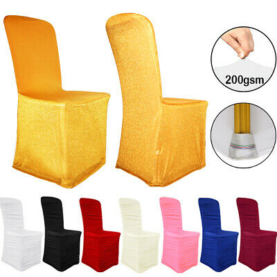 4x Pink Stretch Spandex Chair Covers Dining Room Slipcovers Party Supplies