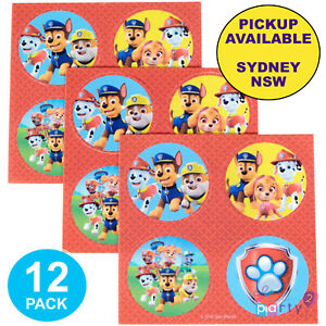 PAW-PATROL-PARTY-SUPPLIES-12-EDIBLE-BIRTHDAY-CUPCAKE-ICING-IMAGE-ROUND-TOPPERS