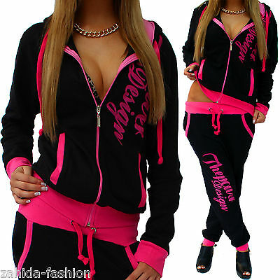 Women's Jogging Suit Trousers Jacket Trackies Sports Pants Fitness E Hoodie Pink