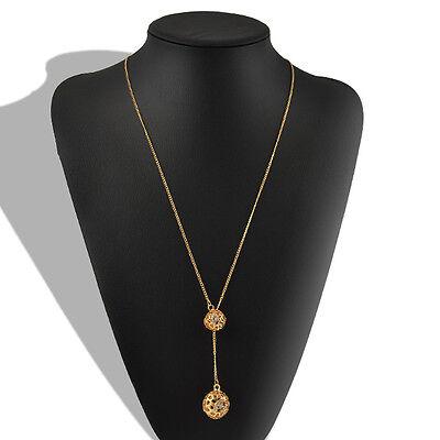 women Ladies sweater Double Golden Hollow Ball Pendant Long Chain Necklace hs