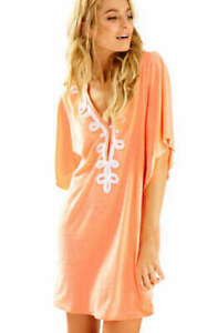 New-Lilly-Pulitzer-BALLETA-COVER-UP-Papaya-Coral-Dress-Embroidered-Peach-White-S