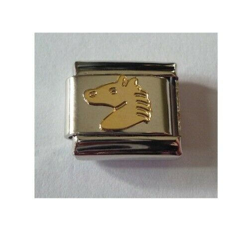 9mm Italian Charm E28  Gold Plated Horse Head Fits Classic Size Bracelet