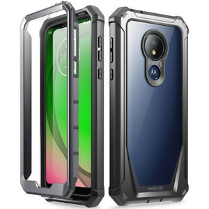 Moto G7 Power Rugged Clear Case Poetic Hybrid Shockproof Bumper Cover Black Ebay