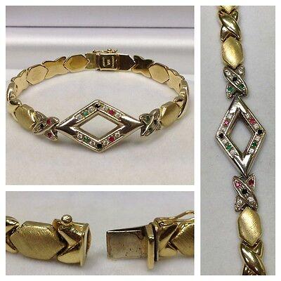 Goldarmband Armband 585er Gold Brillant Smaragd Rubin