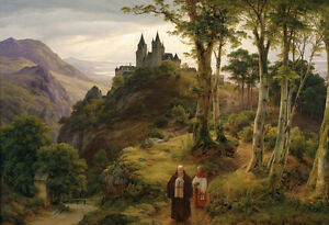 Excellent-Oil-painting-priest-and-monk-in-the-mountains-landscape-with-castle