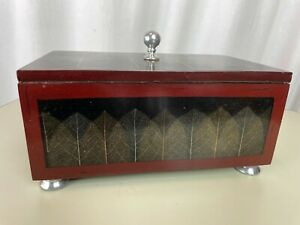Viintage Jewelry Box Chest Asian Handmade Wood Drawer Leaf Silver Lined Decor