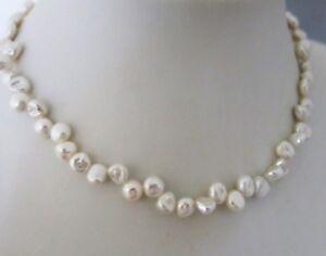 Echte-Perlenkette-Keshiperle-44cm-Silk-Weiss-Magnetvers-Handarbeit-TOP-Geschenk