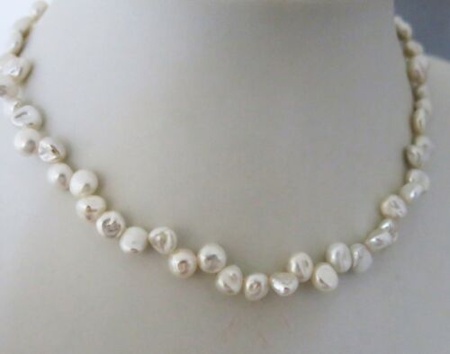 Handarbeit TOP Geschenk Echte Perlenkette Keshiperle 44cm Silk-Weiß Magnetvers