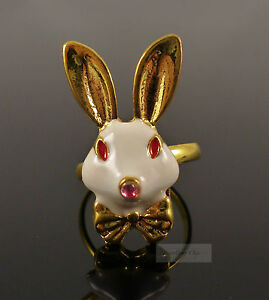 Gold-White-Rabbit-Red-Crystal-Alice-in-Wonderland-Costume-Jewellery-Ring