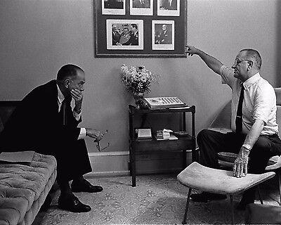 LYNDON JOHNSON MEETS WITH SENATOR RICHARD RUSSELL IN 1963-8X10 PHOTO OP-749