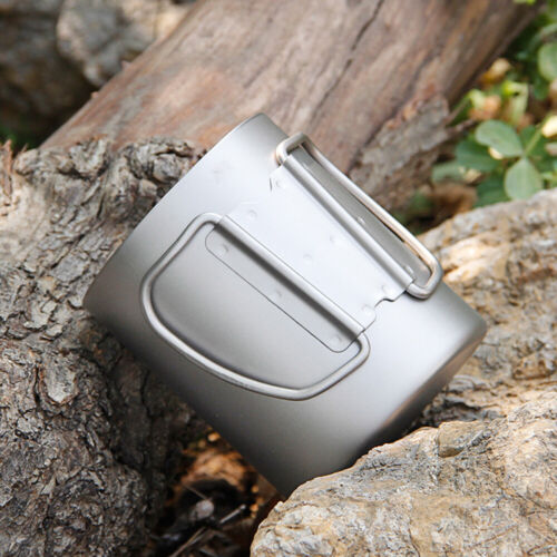 Details about  /Outdoor Camping Titanium Water Cup Portable Hiking Double Wall Tea Mug Pot U5T8