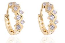 18 k Gold Plated Wave Earrings for Small Girls Women White Zircons Hoops  E714