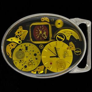 Watch Parts Steampunk Clock Art Antique Watchmaker Gift 70s Vintage Belt Buckle
