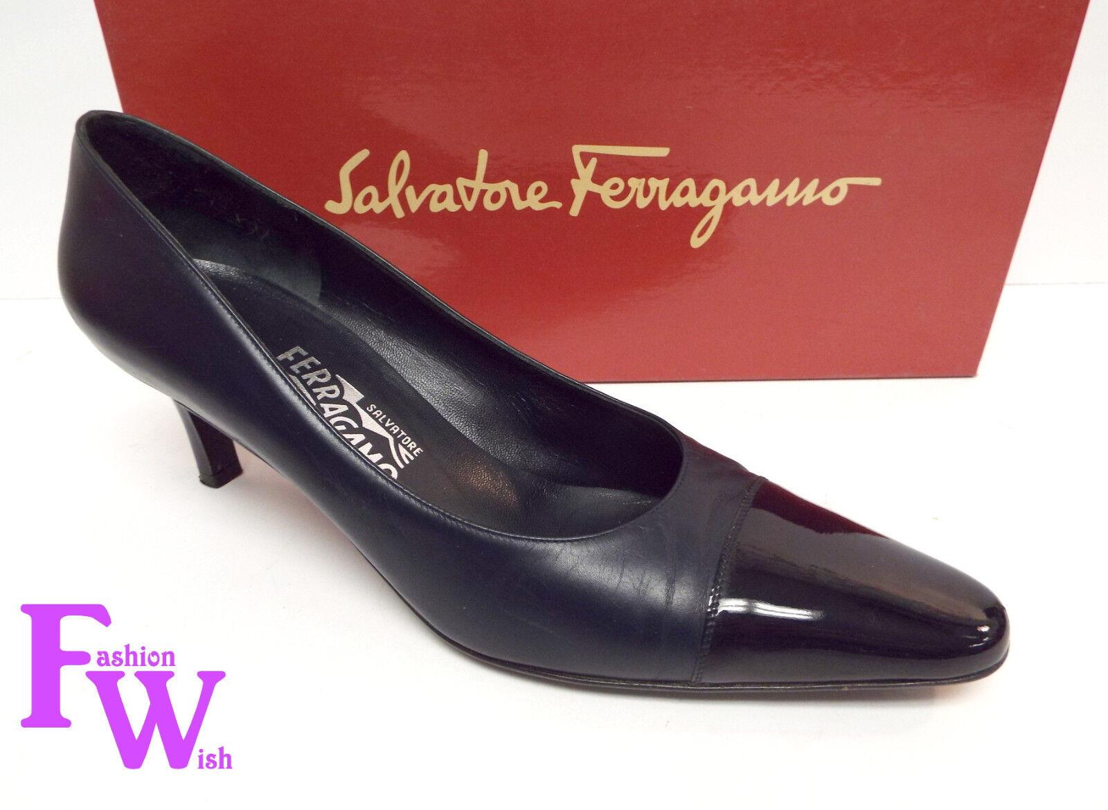 FERRAGAMO Size 7.5 Navy bluee Leather Leather Leather Mid Heel Pumps Cap Toe shoes 7 1 2 f2e555
