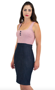 Lucky 13 Denim with rot stripes Pin Up Dress StyleLW8847CL