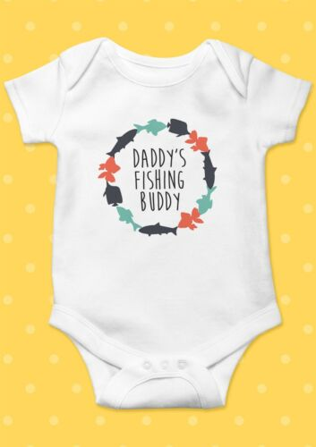 Embroidered Baby BodysuitRomper Daddy/'s New Fishing Buddy