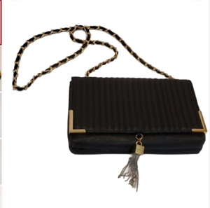 Bebe Black Crossbody Purse Gold Hardware Handbag