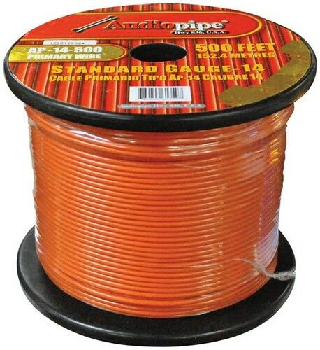 Audiopipe AP14500OR 14 Gauge 500Ft Primary Wire Orange