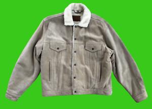 Vintage-Levi-039-s-Leder-Wildleder-Trucker-Jacke-Typ-3-Sherpa-Gefuettert-Groesse-XL