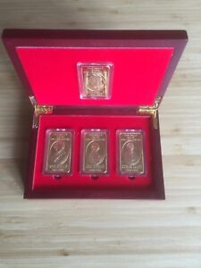 NED-KELLY-amp-GANG-UNIQUE-BOXED-SET-OF-4-GOLD-INGOTS-FINISHED-IN-24K-GOLD