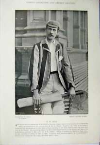 Original-Old-Antique-Print-Cricket-Photograph-Rice-Oxford-Lewis-1895-Sport-19th
