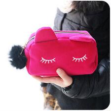 Cute Flannel Cosmetic Makeup Cartoon Cat Storage Bags Pen Pencil Pouch Cases