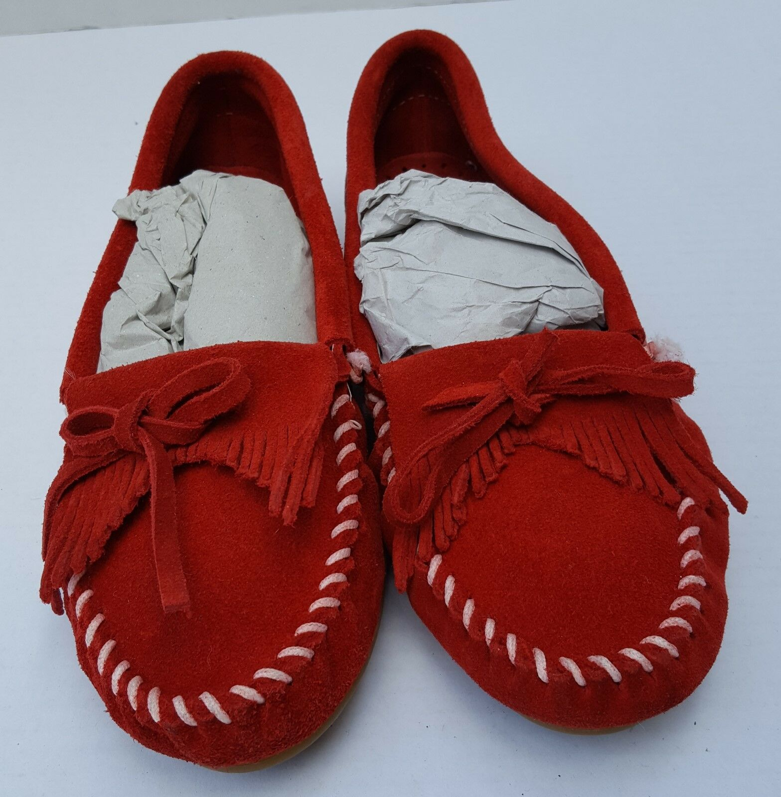 New Damenschuhe Minnetanka ROT Kilty Stitch Christmas Moccasin Loafers Schuhes 8.5