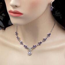White Gold Amethyst Purple Zirconia CZ Necklace Earrings Wedding Jewelry Set 632